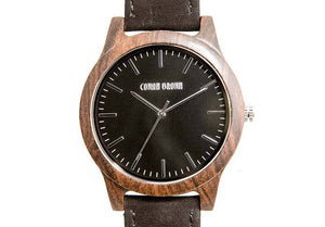 Wooden Watch - Poitier – Black Sandalwood And Suede Wooden Watch