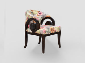TimberTaste Lounge Cafetaria Flower Printed Velvet Fabric Accent Design Patio Chair Teak Wood Legs.
