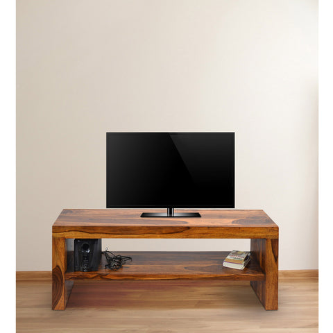 TImberTaste MALU Solid Wood TV Entertainment Unit  (Finish Color - Natural Teak).