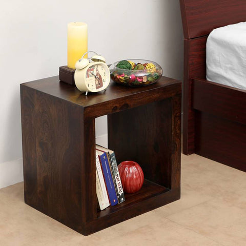 Daintree Sheesham Wood CUBO Side End Table Cube Style Dark Walnut Finish