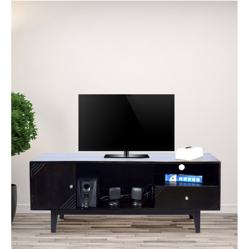 TimberTaste Solid Wood SHABY 1.45 Meter 1 Door 1 Draw TV Unit Cabinet Entertainment Stand (Dark Walnut Finish).