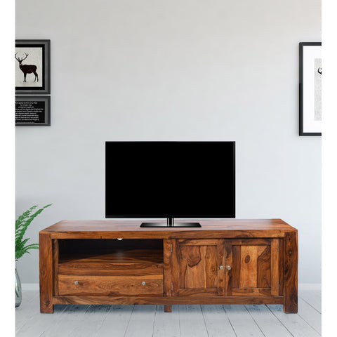 TimberTaste Solid Sheesham (Rosewood) Wood NEWCUBA TV Cabinet (Dark Walnut Finish).