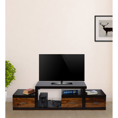 TimberTaste Sheesham Wood NADIA / SAROJ 3-Draw TV Cabinet (Dark Walnut With Teak Drawer Finish).
