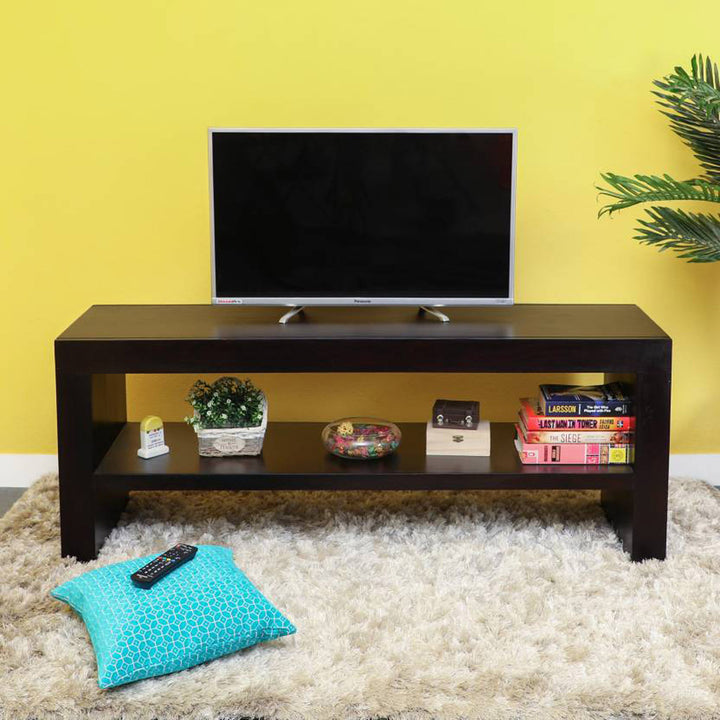 TimberTaste Sheesham Wood 1.40 Meter Dark Walnut Finish MALU TV Unit Cabinet Entertainment Stand.