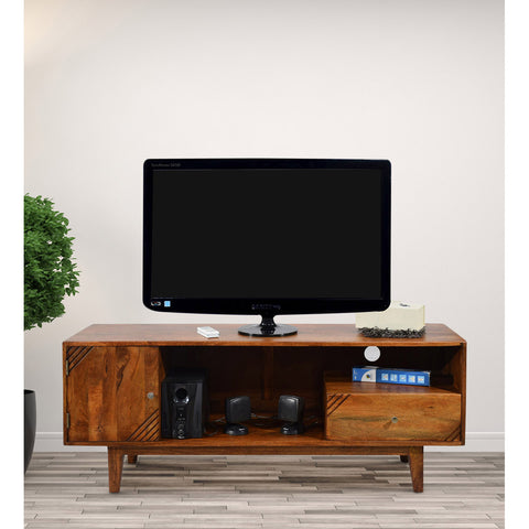TimberTaste Solid Wood SHABY 1.45 Meter 1 Door 1 Draw TV Unit Cabinet Entertainment Stand (Natural Teak Finish).