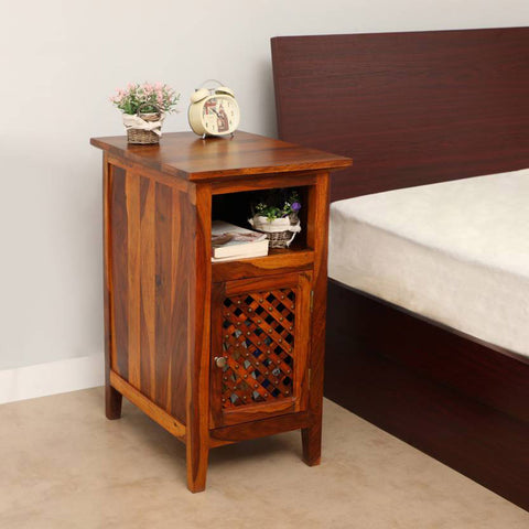 Daintree Sheesham Wood KAMA Side Table Natural Teak Finish