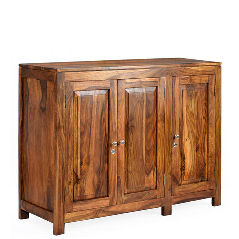 TimberTaste Sheesham Wood 3 door Danny / Albert side board (Natural Teak Finish).