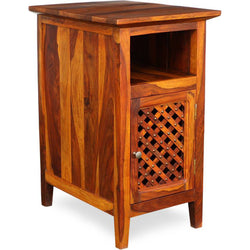 TimberTaste Sheesham Wood KAMA Side Table Natural Teak Finish