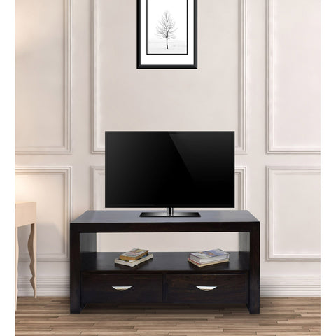 TimberTaste Sheesham Wood 1.10 Meter Dark Walnut Finish 2 Draw TV Unit Cabinet Entertainment Stand.