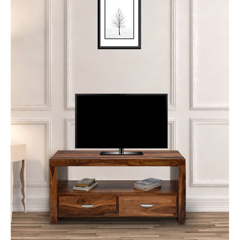 Daintree Sheesham Wood 1.10 Meter Natural Teak Finish 2 Draw TV Unit Cabinet Entertainment Stand
