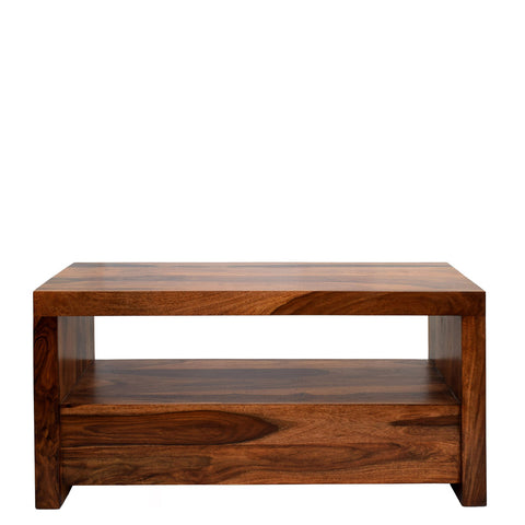 TimberTaste Sheesham Wood 1.10 Meter Natural Teak Finish 2 Draw TV Unit Cabinet Entertainment Stand.