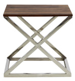 Timbertaste Solid Sheesham Wood Top Stainless Steel Cross legs Jui Accent Side Table ( Provincial Teak)