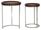 Timbertaste Solid Sheesham Wood Top Steel Round Aiyana Nesting Table ( Set Of Two, Provincial Teak)