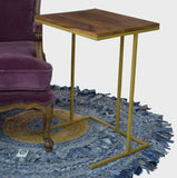Timbertaste Solid Sheesham Wood Top And Golden Coated Iron Base Deleon C-Table for Working Adults ( Provincial Teak Finish)