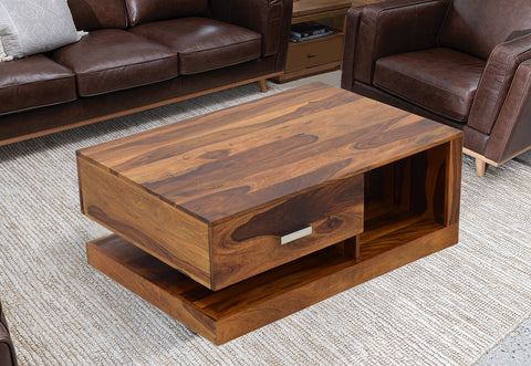 TimberTaste Sheesham Wood 1 Draw Akira Natural Teak Finish Coffee Centre Table Teapoy