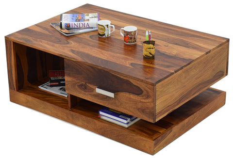 TimberTaste Sheesham Wood 1 Draw Akira Natural Teak Finish Coffee Centre Table Teapoy, daintree, Solid wood, wooden