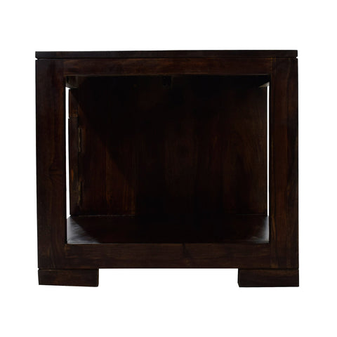 TimberTaste Sheesham Wood 1 Draw with Cabinet ALFA Dark Walnut Coffee Center Table Teapoy