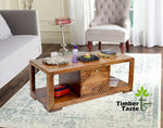TimberTaste Sheesham Wood 1 Draw with Cabinet ALFA Natural Teak Coffee Center Table Teapoy