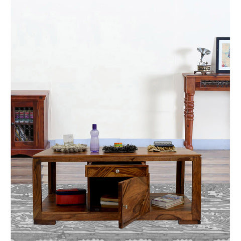 TimberTaste Daintree Sheesham Wood 1 Draw with Cabinet ALFA Natural Teak Coffee Center Table Teapoy