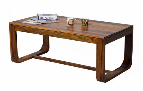 TimberTaste Sheesham Wood Alina Natural Teak Finish Coffee Center Table Teapoy