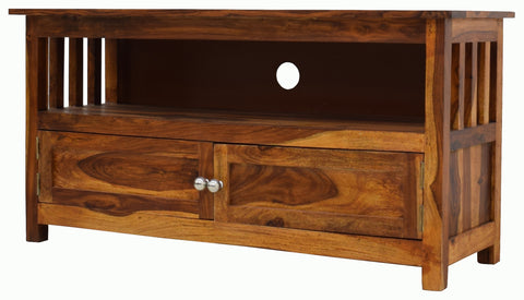 Timbertaste Sheesham Solid Wood ANMOL Natural Teek Finish TV Cabinet Storage, Entertainment Stand, solid wood, fish tank stand, wooden table, multi-purpose cabinet