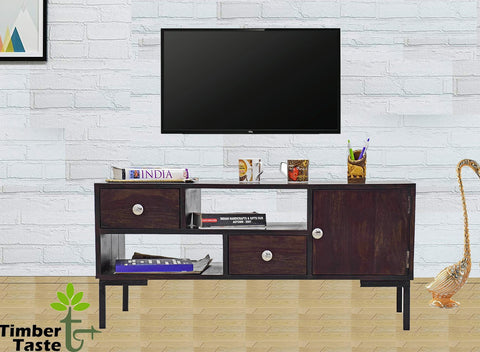 TimberTaste Sheesham Solid Wood 1 Meter Aqua Dark Walnut Lacquer Finish TV Unit Cabinet.
