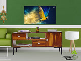 TimberTaste Sheesham Solid Wood 1 Meter Aqua Natural Teak Lacquer Finish TV Unit Cabinet.
