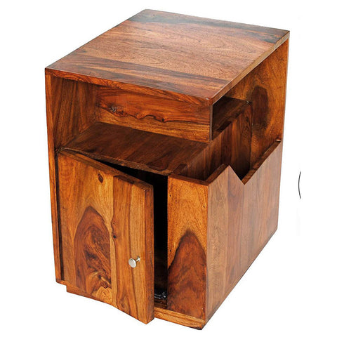 Daintree Sheesham Wood ASTRO Side Table Megazine Stand  Natural Teak Finish