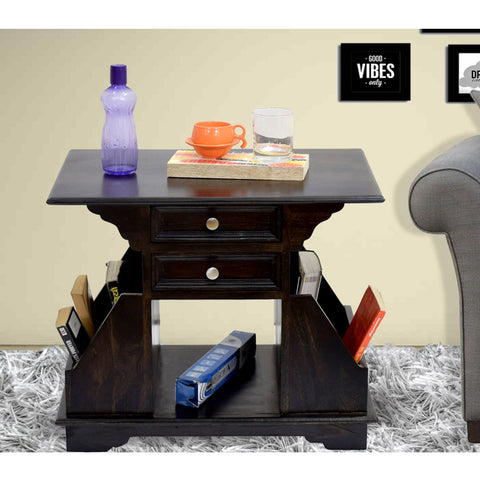 Daintree Sheesham Wood 2 Draw BALA Side Table Megazine stand Walnut Finish