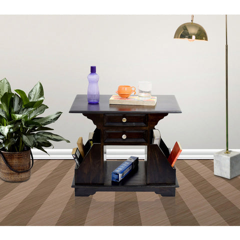 TimberTaste Sheesham Wood 2 Draw BALA Side Table Megazine stand Dark Walnut Finish