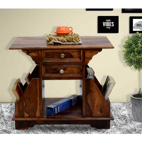 Daintree Sheesham Wood 2 Draw BALA Side Table Megazine stand Natural Teak Finish