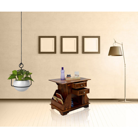 TimberTaste Sheesham Wood 2 Draw BALA Side Table Megazine stand Natural Teak Finish