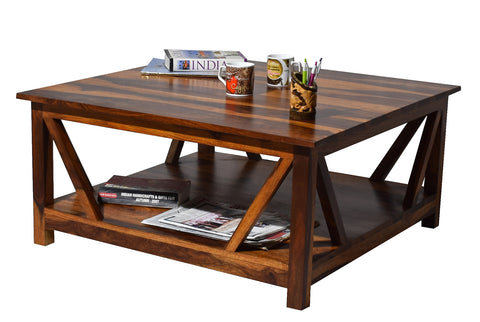 TimberTaste Sheesham Wood BINGO Natural Teak Finish Coffee Center Table Teapoy