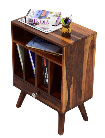 TimberTaste BONY Solid Wood End Table in Natural Teek And Dark Walnut Finish, corner table, end table, accent table, solid wood table, telephone table, fish tank stand, wooden table, sofa table, bedside table,Teek Finish.