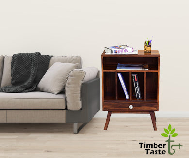 Timbertaste Sheesham Solid Wood Bony Natural Teak Finish Side End Table Office Utility Table