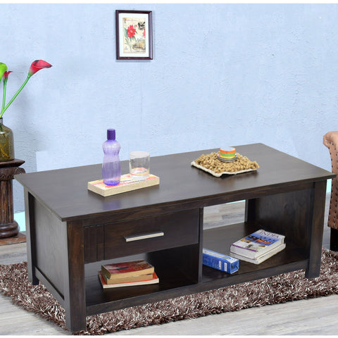 Daintree  Sheesham Wood 1 Draw with shelves BOSCO Dark Walnut Coffee Center Table Teapoy