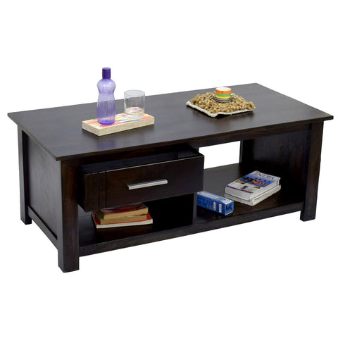 TimberTaste Sheesham Wood 1 Draw with shelves BOSCO Natural Dark Walnut Center Table Teapoy