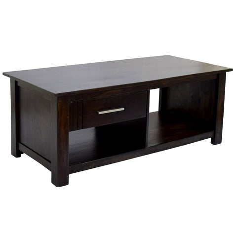 TimberTaste Sheesham Wood 1 Draw with shelves BOSCO Dark Walnut Coffee Center Table Teapoy