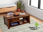 TimberTaste Sheesham Wood 1 Draw with shelves BOSCO Natural Teak Coffee Center Table Teapoy