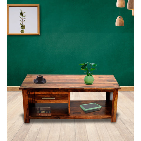 Daintree Sheesham Wood 1 Draw with shelves BOSCO Natural Teak Coffee Center Table Teapoy