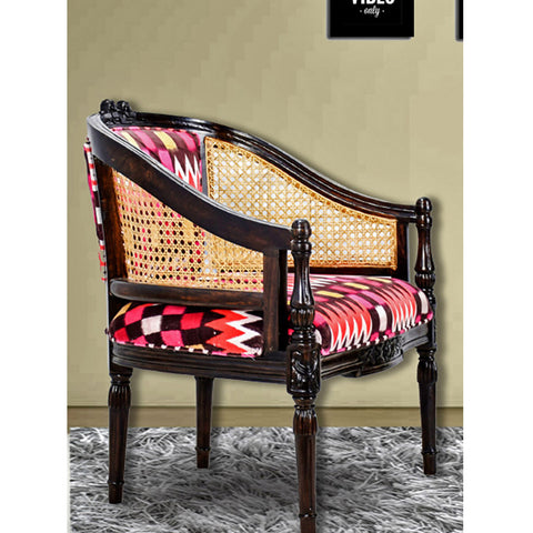 Daintree CANE Red Abstract Design Lounge Cafetaria Accent Patio Chair Solid Wood Walnut Finish Frame