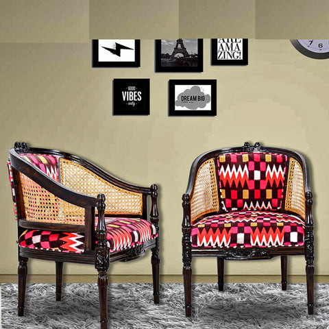 Daintree CANE Red Abstract Design Lounge Cafetaria Accent Patio Chair Solid Wood Walnut Finish Frame.