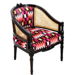 TimberTaste CANE Red Abstract Design Lounge Cafetaria Accent Patio Chair Solid Wood Walnut Finish Frame.