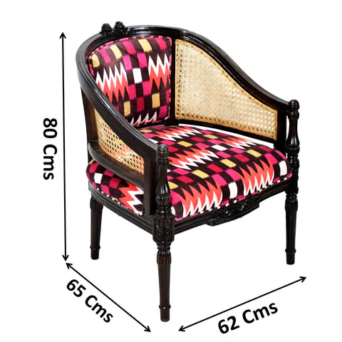 TimberTaste CANE Red Abstract Design Lounge Cafetaria Accent Patio Chair Solid Wood Walnut Finish Frame