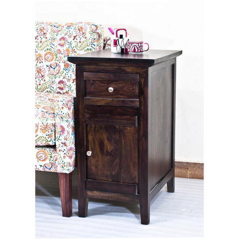 Daintree Sheesham Wood CANNY Side Table Dark Walnut Finish.