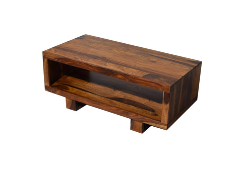 Timbertaste Sheesham Solid Wood CARBON Natural Teak Finish Coffee Center Table Teapoy, Sheesham wood coffee table, rosewood, center table, solid wood table, teapoy, fish tank stand Teak Finish