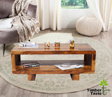 Timbertaste Sheesham Solid Wood Carbon Natural Teak Finish Coffee Center Table Teapoy