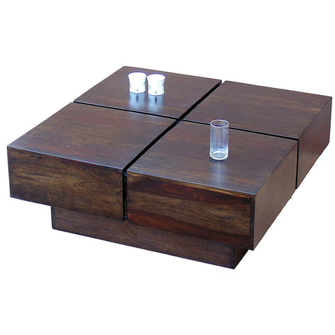 TimberTaste Shesham Wood CENTO Coffee table Dark Walnut
