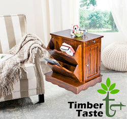 TimberTaste Sheesham Wood CLARA Side Table Natural Teak Finish