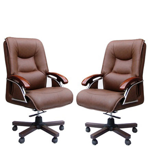 TimberTaste COCO BROWN Directors, Executive, Boss, conference high back office chair(set of 2).